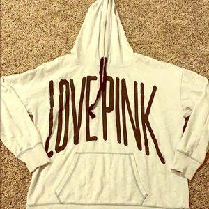 """Gray """"love pink"""" hoodie"""